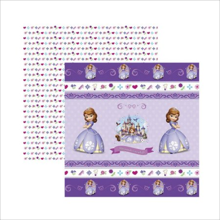 Folha para Scrapbook Dupla Face Disney Toke e Crie Princesinha Sofia 1 Fitas e Rótulos - 19343 - SDFD049