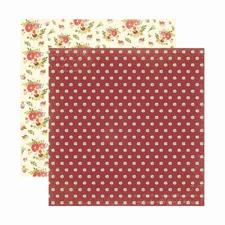 Folha para Scrapbooking Dupla Face Toke e Crie Floral Poá by Ivana Madi - 20654 - SDF808