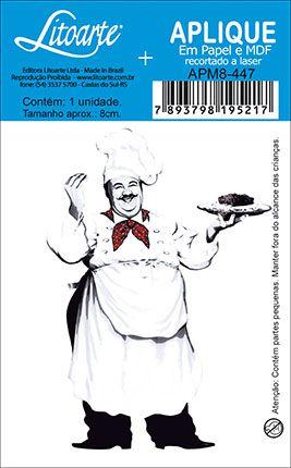 APM8-447 - Aplique Litoarte Em Papel E MDF - Cozinheiro Gordo P&B