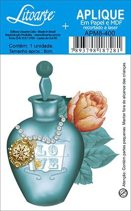 APM8-400 - Aplique Litoarte Em Papel E MDF - Perfume Verde