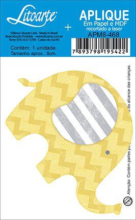 APM8-468 - Aplique Litoarte Em Papel E MDF - Elefante Amarelo