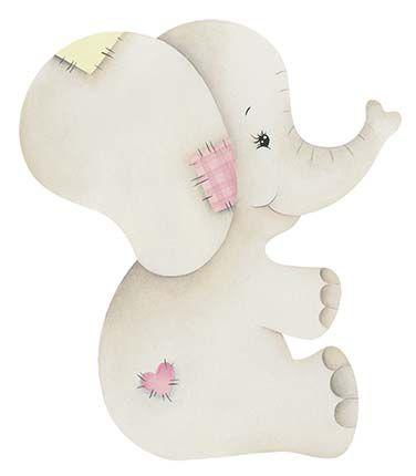 APM8-962 - Aplique Litoarte Em Papel E MDF - Elefante Bebê Menina