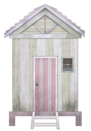 APM8-1034 - Aplique Litoarte Em Papel E MDF - Casinha De Praia Verde E Rosa