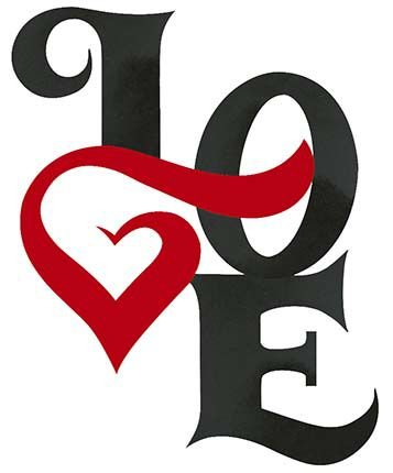 APM8-988 - Aplique Litoarte Em Papel E MDF - Love Preto Coração Vermelho