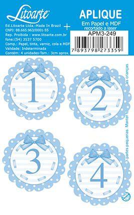 APM3-249 - Aplique Litoarte Em Papel E MDF - Números Azuis 1 Ao 4