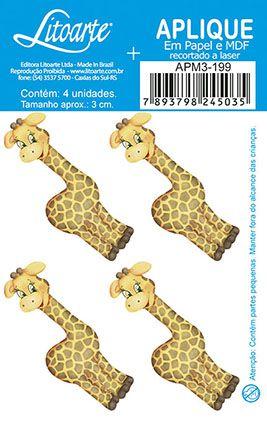 APM3-199 - Aplique Litoarte Em Papel E MDF - Girafa