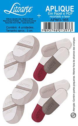 APM3-165 - Aplique Litoarte Em Papel E MDF - Remédios