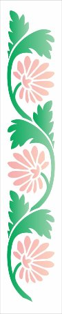Stencil 6×30 Simples – Folhas e Flor Leque – OPA 2614