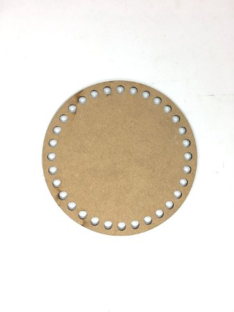 Base de Crochê Redonda Cesto Fio Malha 15 cm MDF 3 mm