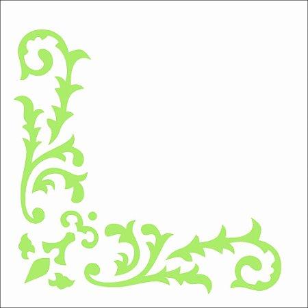 Stencil 10×10 Simples – Cantoneira Arabesco Folhas OPA 2327