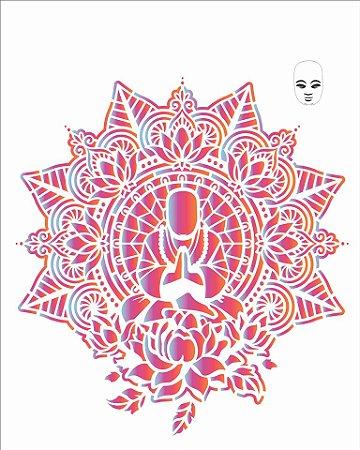 Stencil 20×25 Simples – Mandala Buda – OPA 2726