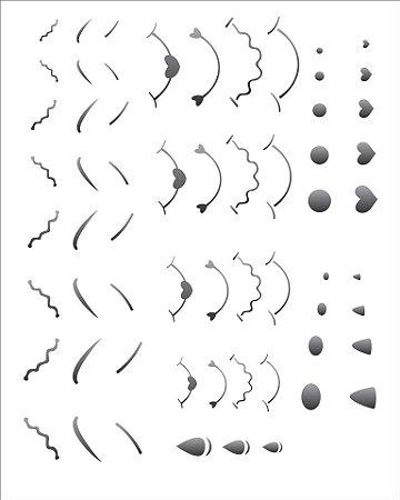 Stencil 20×25 Simples – Nariz Boca e Sobrancelhas – OPA 1179