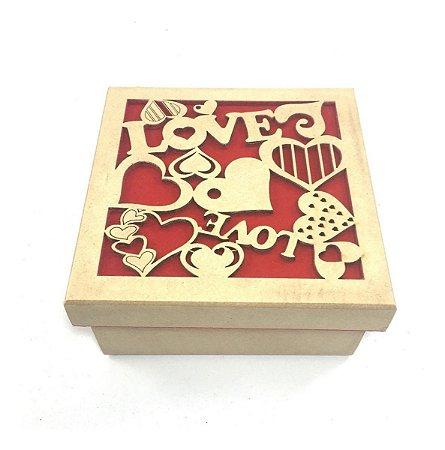 Caixa Love Amor Flocada Tampa Solta - 13,5 X 13,5 X 7 Cm