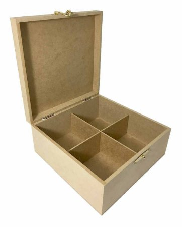 Caixa MDF Lisa 22x22x10 Dobradiça e Fecho Metal 4 Divisórias