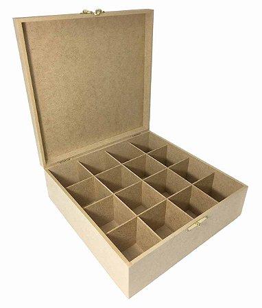 Caixa MDF Lisa 30x30x10 Dobradiça e Fecho Metal 16 Divisória