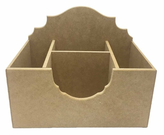Caixa Porta Pinceis Trabalhado 4 Divisorias em MDF