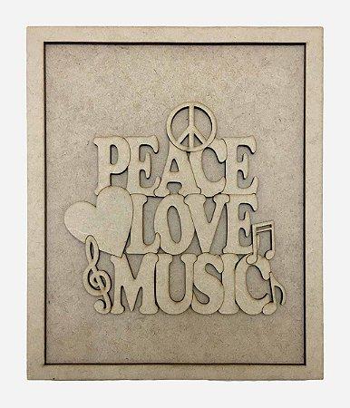Quadros Decorativos Personalizado *Peace Love Music...* MDF
