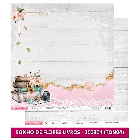 Papel Scrapbook - Scrap By Antonio - SONHO DE FLORES LIVROS - TON4