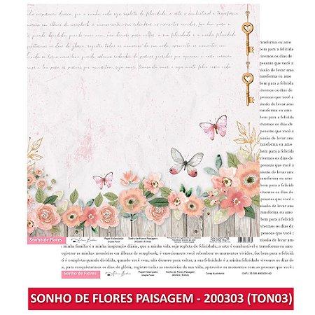 Papel Scrapbook - Scrap By Antonio - SONHO DE FLORES - 2 KITS COMPLETOS (16 UNIDADES)