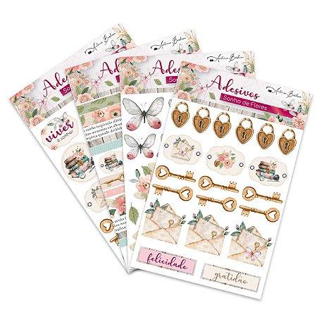 Kit Adesivo Sonho de Flores - Scrap By Antonio - 4 modelos - KIT COMPLETO