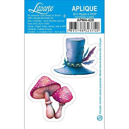 APM4-428 - Aplique Litoarte Em Papel E MDF - Alice No País Das Maravilhas,Chapéu