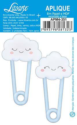 APM4-351- Aplique Litoarte Em Papel E MDF - Joaninha Nuvem Azul