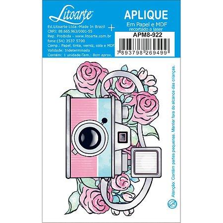 APM8-922- Aplique Em Papel E MDF - Câmera Fotográfica e Flores