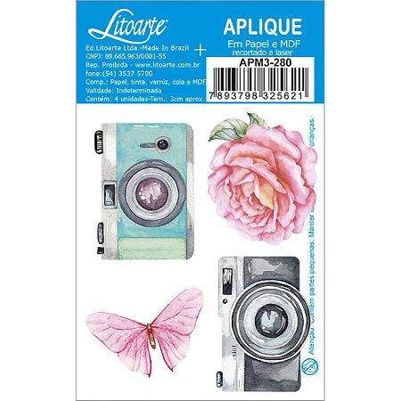 APM3-280 - Aplique Litoarte Em Papel E MDF - Câmeras Fotográficas Flor Borboleta