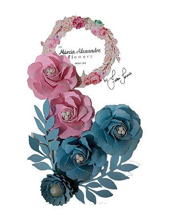 Flores de Papel P/ Scrapbook 15-09 Blueberry C/ Rosas