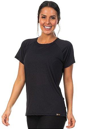 Camiseta Esportiva Manga Curta Raglan Cor Preto