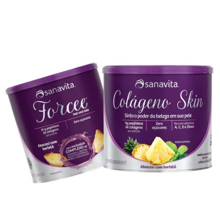 KIT FORCEE HAIR AND NAILS 330G + COLAGENO SKIN 200G SABOR ABACAXI COM HORTELÃ - SANAVITA