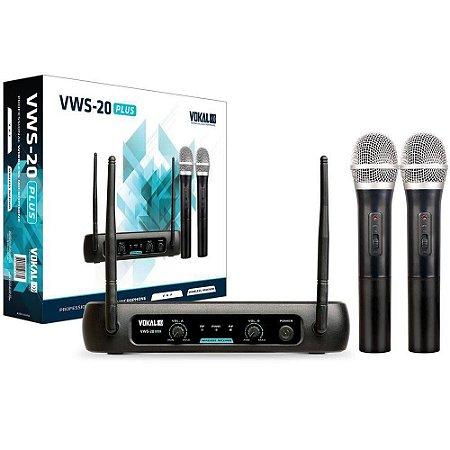Microfone sem Fio Duplo VHF VOKAL VWS-20 PLUS