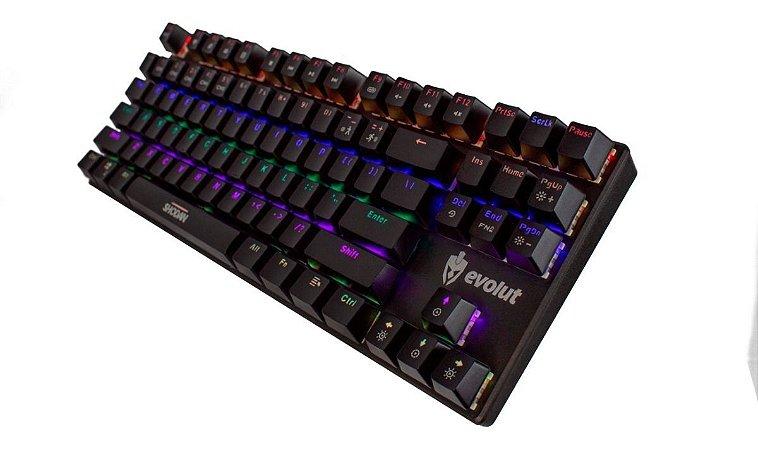 Teclado Gamer Mecânico Evolut EG203 Shodan Red Switch Outemu Programável com software