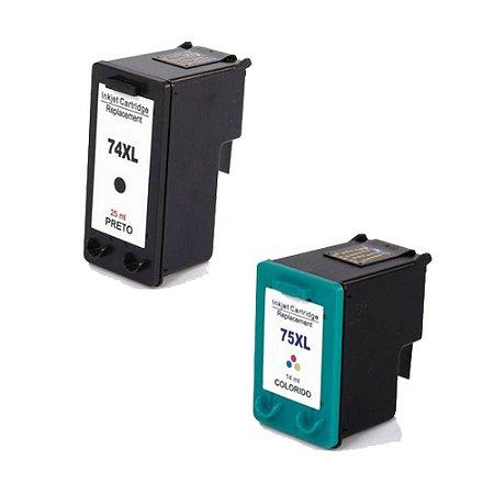 Compatível: Kit Cartucho de Tinta HP 74XL Black+75xL Color Replaces