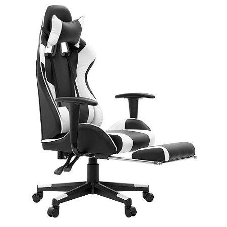 Cadeira Gamer Lazy Preto e Branco EG981 (com descanso para os pés) Evolut