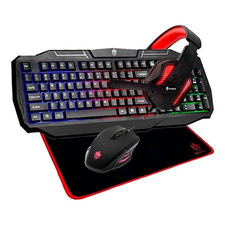 Kit Gamer Mid (teclado+mouse+headset+mousepad) Evolut