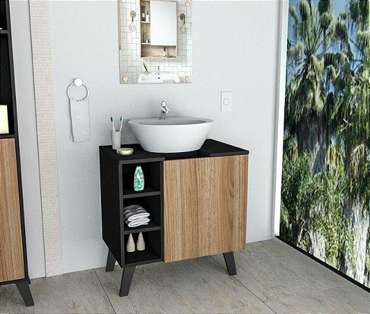 Gabinete de Banheiro com Espelheira Appunto Castanho