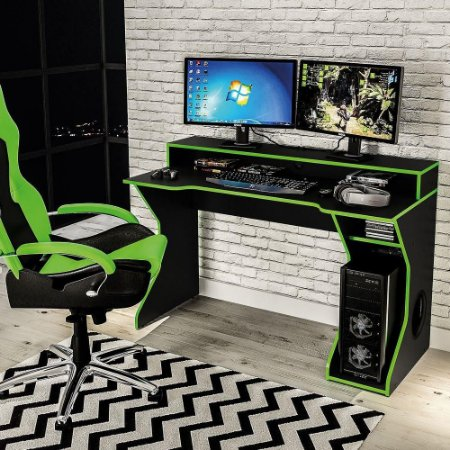 Mesa Para PC Gamer Fremont Politorno Preto Verde