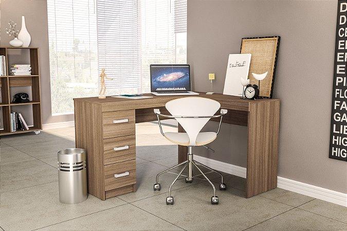 Mesa de escritório Fênix 3 gavetas Castanho Politorno