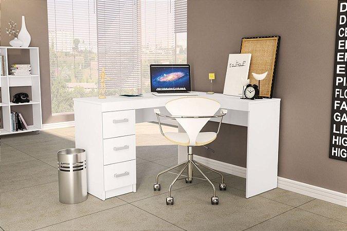 Mesa de escritório Fênix 3 gavetas Branco Politorno