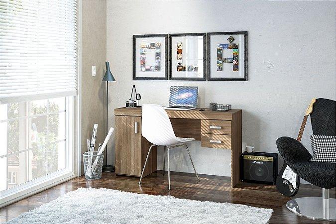 Mesa de escritório Miranda 1,35m 1 porta 2 gavetas Castanho Politorno