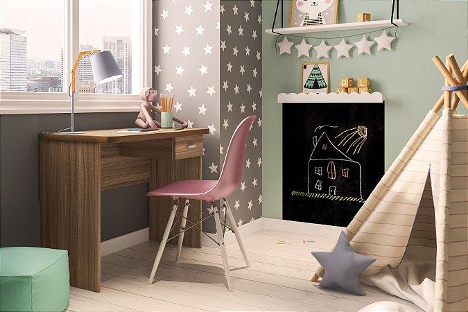 Mesa de escritório Resende 90cm 1 gaveta Castanho Politorno