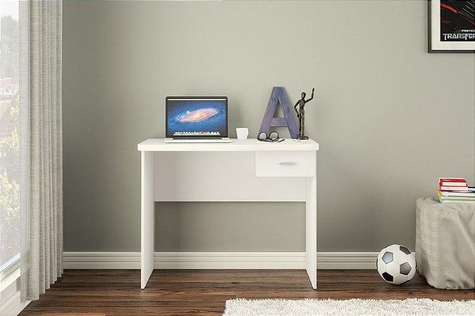 Mesa de escritório Resende 90cm 1 gaveta Branco Politorno