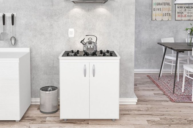 Balcão Natal para cooktop 2 portas e tampo ajustável Branco Politorno