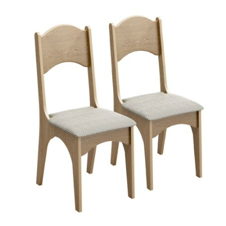 Kit 2 Cadeiras CA18/2   100 % MDF Dalla Costa Carvalho