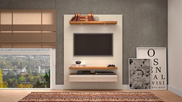 Painel Para TV 55 Polegadas  C/Led - Off White/Frejo/Espelho Pradel