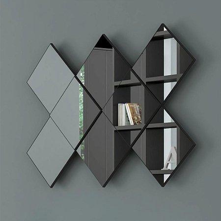 Espelho Decorativo 3D  Losango  Dalla Costa  MDF Preto Alto Brilho
