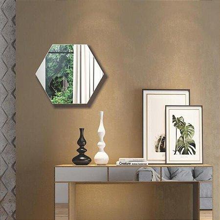 Espelho Decorativo Hexagono  69Cm - Dalla Costa - Off White Dalla Costa