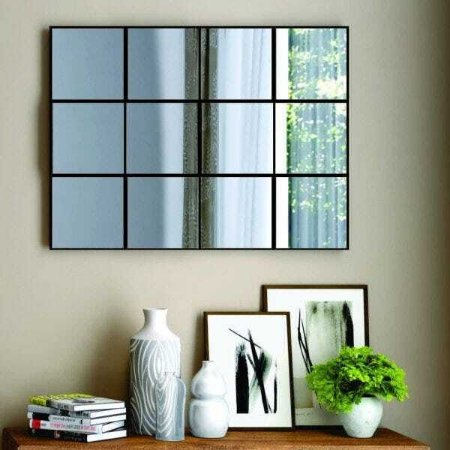 Painel Decorativo Quadriculado 3D 100 Cm -  Preto/Espelhado Dalla Costa
