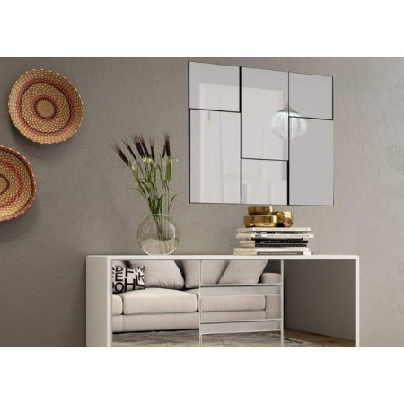 Painel Decorativo Quadriculado 3D 90 Cm -  Preto/Espelhado Dalla Costa